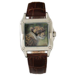 Cheetah Women's Wristwatch with Brown Leather Band
