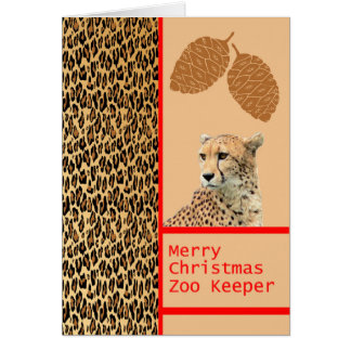 Cheetah Zoo Keeper Christmas Card