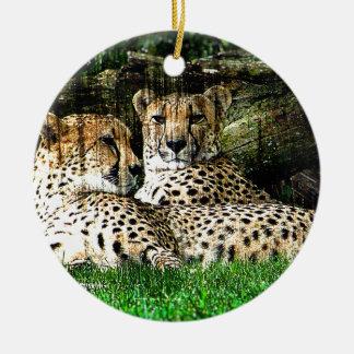 Cheetahs Grunge Effect Photo Ceramic Ornament