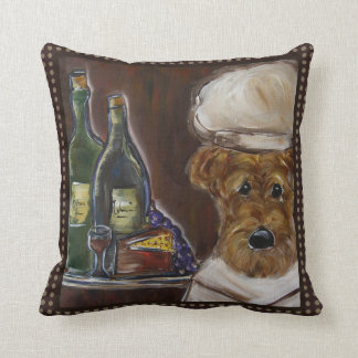 CHEF AIREDALE TERRIER THROW PILLOW