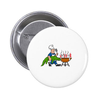 Chef Alligator Spatula BBQ Grill Cartoon 2 Inch Round Button