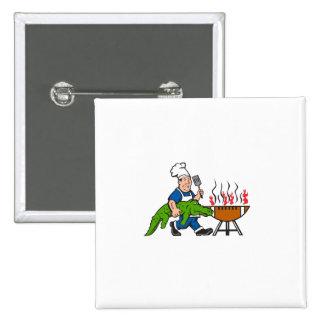 Chef Alligator Spatula BBQ Grill Cartoon 2 Inch Square Button