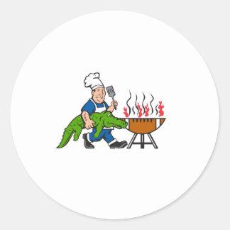Chef Alligator Spatula BBQ Grill Cartoon Classic Round Sticker