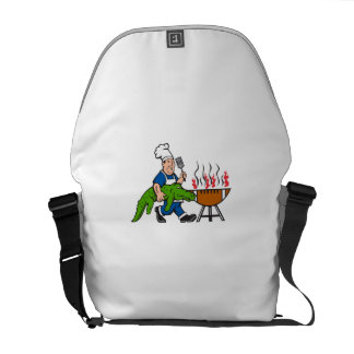 Chef Alligator Spatula BBQ Grill Cartoon Messenger Bags