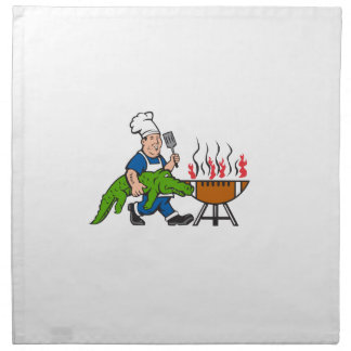 Chef Alligator Spatula BBQ Grill Cartoon Napkin