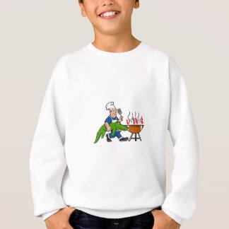Chef Alligator Spatula BBQ Grill Cartoon Sweatshirt