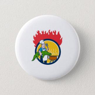 Chef Alligator Spatula BBQ Grill Fire Circle Carto 2 Inch Round Button