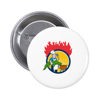 Chef Alligator Spatula BBQ Grill Fire Circle Carto 2 Inch Round Button