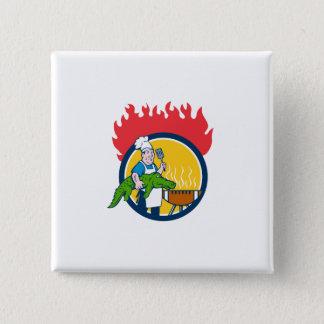 Chef Alligator Spatula BBQ Grill Fire Circle Carto 2 Inch Square Button