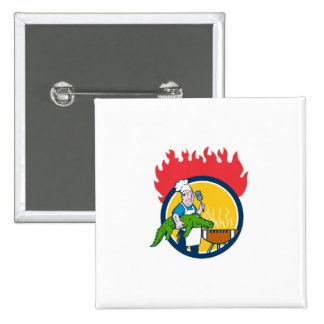 Chef Alligator Spatula BBQ Grill Fire Circle Carto 2 Inch Square Button