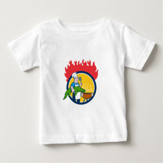 Chef Alligator Spatula BBQ Grill Fire Circle Carto Baby T-Shirt