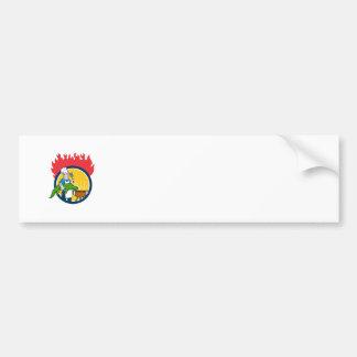 Chef Alligator Spatula BBQ Grill Fire Circle Carto Bumper Sticker
