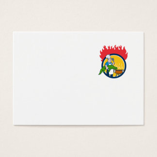 Chef Alligator Spatula BBQ Grill Fire Circle Carto Business Card
