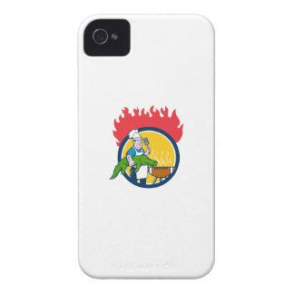 Chef Alligator Spatula BBQ Grill Fire Circle Carto Case-Mate iPhone 4 Case