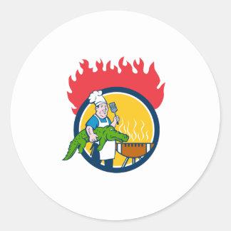 Chef Alligator Spatula BBQ Grill Fire Circle Carto Classic Round Sticker