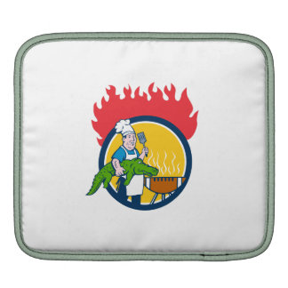 Chef Alligator Spatula BBQ Grill Fire Circle Carto iPad Sleeves