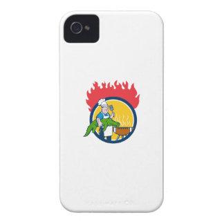 Chef Alligator Spatula BBQ Grill Fire Circle Carto iPhone 4 Cases