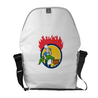 Chef Alligator Spatula BBQ Grill Fire Circle Carto Messenger Bags