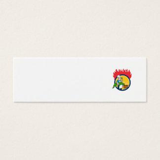 Chef Alligator Spatula BBQ Grill Fire Circle Carto Mini Business Card