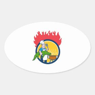 Chef Alligator Spatula BBQ Grill Fire Circle Carto Oval Sticker