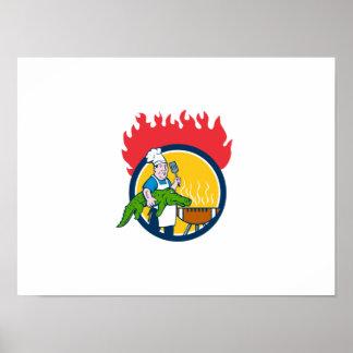 Chef Alligator Spatula BBQ Grill Fire Circle Carto Poster