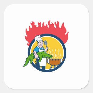 Chef Alligator Spatula BBQ Grill Fire Circle Carto Square Sticker
