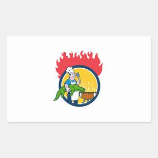 Chef Alligator Spatula BBQ Grill Fire Circle Carto Sticker