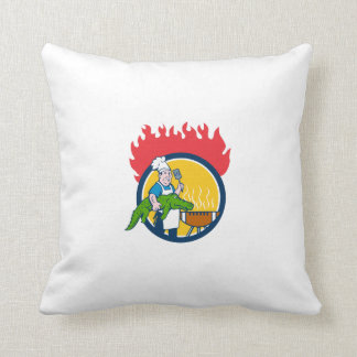 Chef Alligator Spatula BBQ Grill Fire Circle Carto Throw Pillow