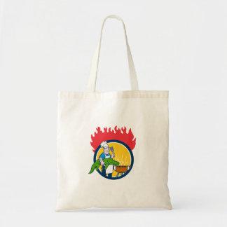 Chef Alligator Spatula BBQ Grill Fire Circle Carto Tote Bag
