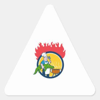 Chef Alligator Spatula BBQ Grill Fire Circle Carto Triangle Sticker