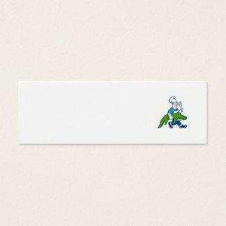 Chef Alligator Spatula Walking Cartoon Mini Business Card