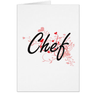 Chef Artistic Job Design with Hearts Card