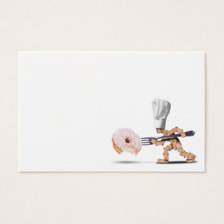 Chef box character attacking a large doughnut business card