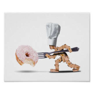 Chef box character attacking a large doughnut poster
