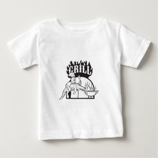 Chef Carry Alligator Grill Cartoon Baby T-Shirt