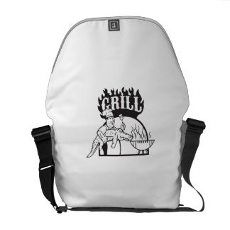 Chef Carry Alligator Grill Cartoon Messenger Bag