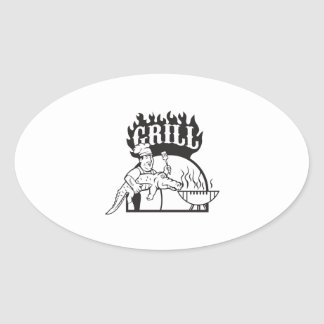 Chef Carry Alligator Grill Cartoon Oval Sticker