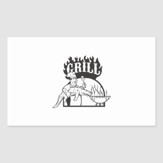 Chef Carry Alligator Grill Cartoon Sticker
