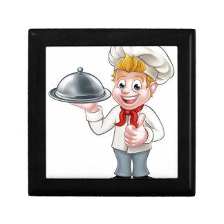 Chef Cartoon Character Mascot Gift Box