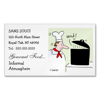 Chef Cartoon Cute Funny Restaurant Catering Magnetic Business Card
