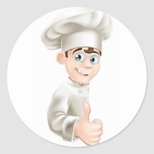 Chef cartoon giving thumbs up sign classic round sticker