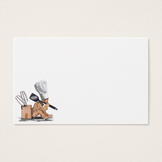 Chef character sat thinking with kitchen tools business card