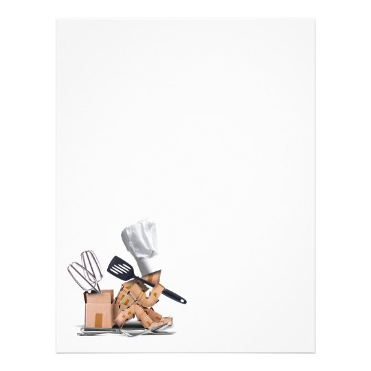 Chef character sat thinking with kitchen tools flyer