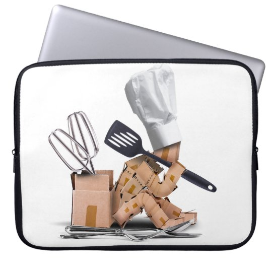 Chef character sat thinking with kitchen tools laptop sleeve