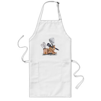 Chef character sat thinking with kitchen tools long apron