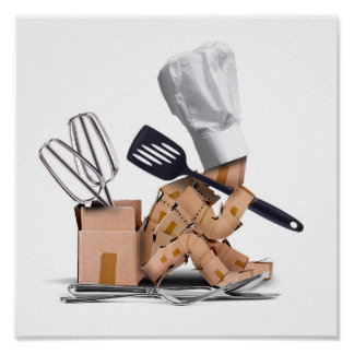 Chef character sat thinking with kitchen tools poster