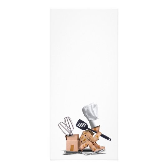Chef character sat thinking with kitchen tools rack card