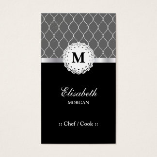 Chef / Cook - Elegant Black Lace Pattern Business Card