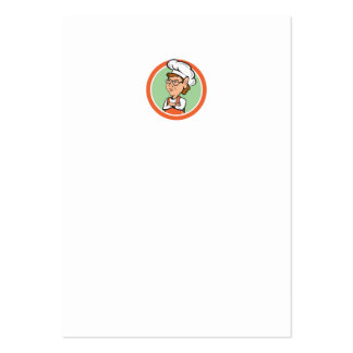 Chef Cook Female Arms Folded Circle Cartoon Business Cards