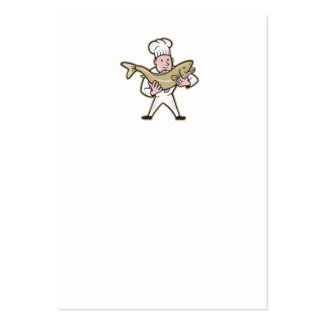 Chef Cook Handling Salmon Fish Standing Business Card